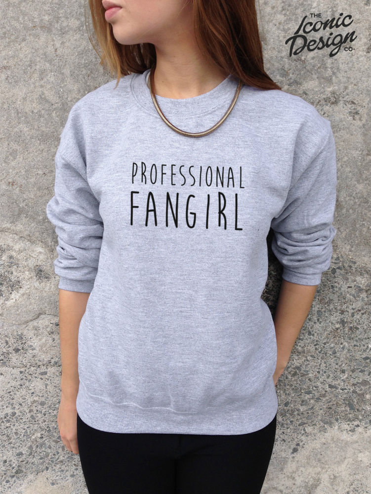 *PROFESSIONAL FANGIRL Fan Girl Funny Slogan Jumper Top Sweater 1D One Direction*