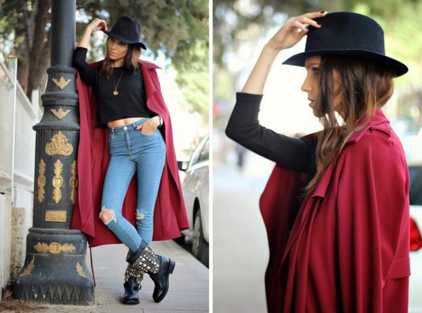 rana demir blogger hat trench coat high waisted jeans black boots coat shoes jewels
