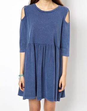 ASOS | ASOS Smock Dress With Cold Shoulder at ASOS