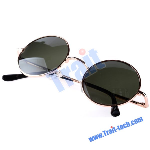 Super Large Gold Frame Atrovirens Shade Vintage Round Circle Sunglasses(UV400)
