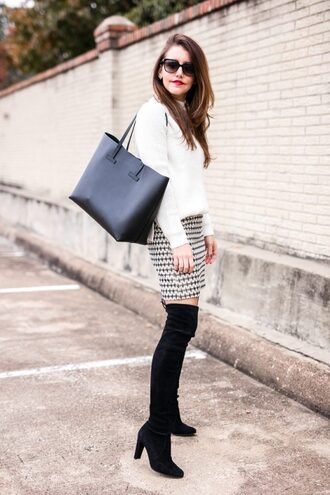 dallas wardrobe // fashion & lifestyle blog // dallas - fashion & lifestyle blog blogger sweater skirt shoes bag sunglasses jewels tote bag mini skirt white sweater thigh high boots boots