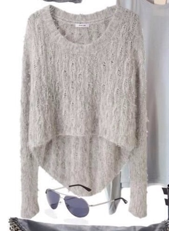 sweater grey sweater fuzzy sweater cropped sweater faux fur