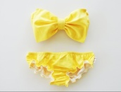 swimwear,bikini,yellow,bow,bow bandeau,girly,vintage