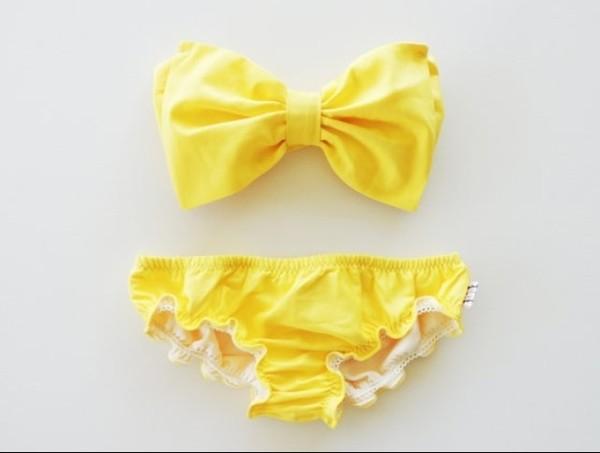 swimwear swimwear bikini yellow bow bow bandeau girly vintage