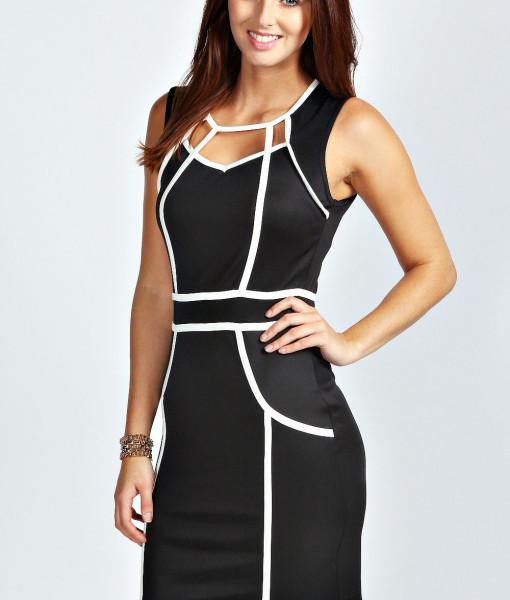 M L Plus Size 2013 New European Fashion Women Black and White Patchwork Mini Bodycon Celebrity Dress Casual Dress 9066 | Amazing Shoes UK