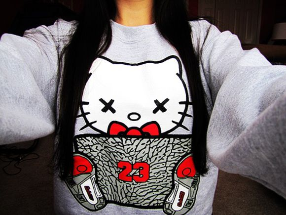 sweatshirt hello kitty red tumblr 23 jacket swag pullover air jordan 3 jordans sweater air jordan
