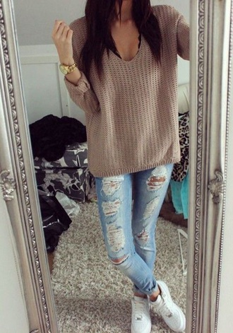 sweater brown tan loose fit sweater comfy beige shirt beige sweater