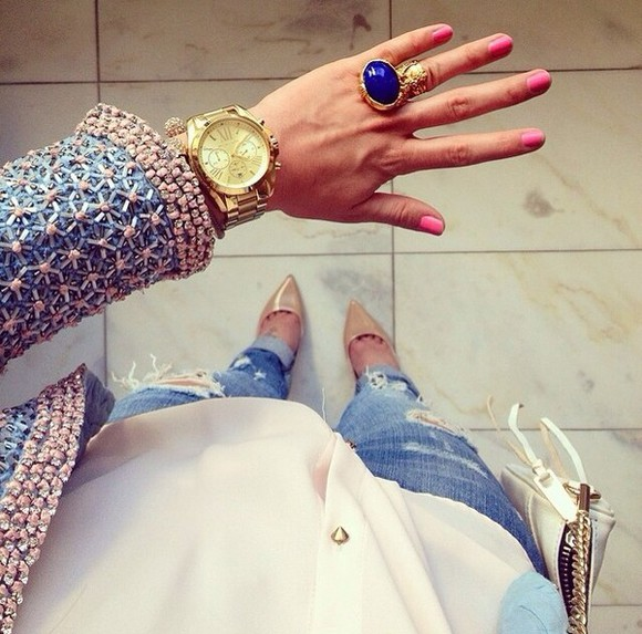 blue jacket cardigan girly louis vuitton ysl michael kors jewels