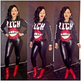 t-shirt keyshia kaoir jewels snekers hoop earrings black leggings shoes pants nail polish