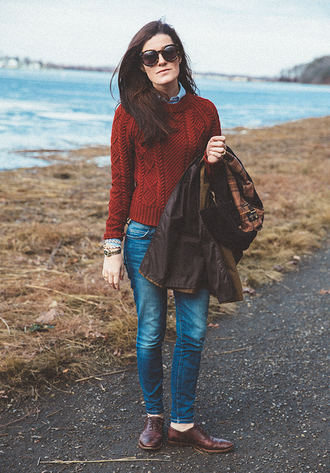classy girls with pearls blogger jacket sweater shirt jeans shoes