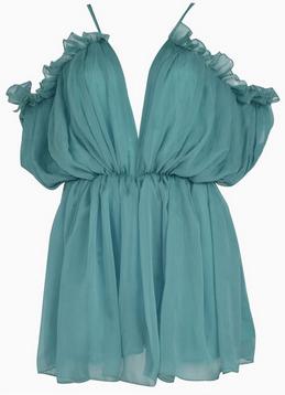 Off shoulder lotus dress