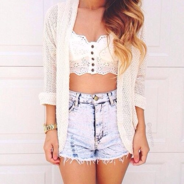 tank top jacket shorts denim lace top coat blouse sweater jeans cool summer summer outfits denim shorts High waisted shorts lace top summer outfits swimwear shoes shirt blue denim shorts cardigan white crop white cardigan white cute pretty yes beautiful love you buttons