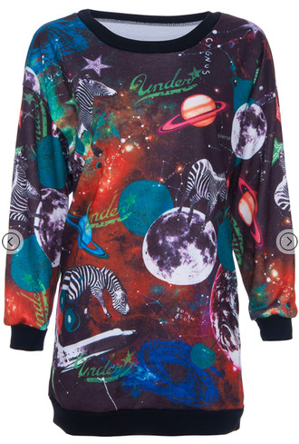 sweater universe zebra print planets galaxy print