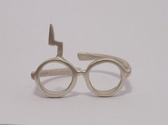 jewels jewelry harry potter ring harry potter inspired silver rings silver lightning lightning bolt glasses