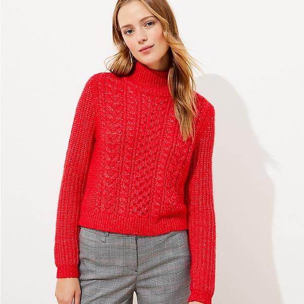 LOFT Petite Cropped Turtleneck Cable Sweater
