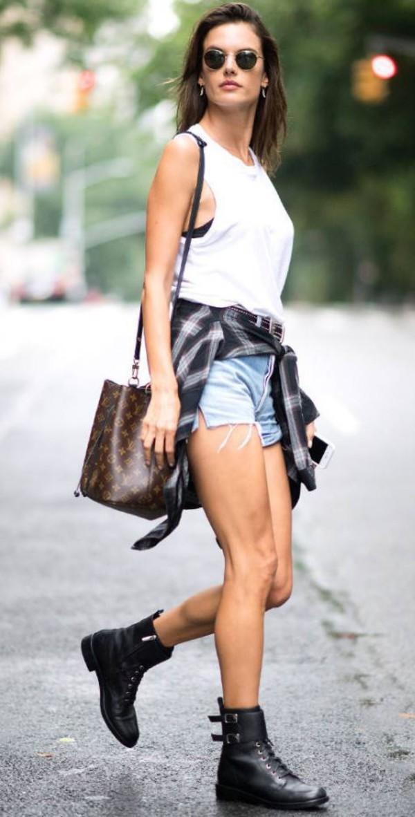 top shoes denim shorts shorts alessandra ambrosio model off-duty streetwear boots