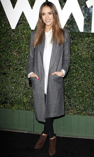 coat shirt ankle boots jessica alba grey fall outfits shoes