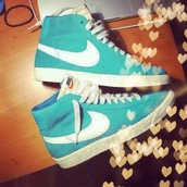 shoes,nike,high top sneakers,nike shoes,turquoise,suede,aqua,mint,white,nike sneakers