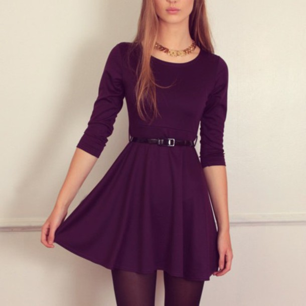 2796a76b5629 dress belt black purple girly cute necklace jewels purple dress tights dark  purple colorful