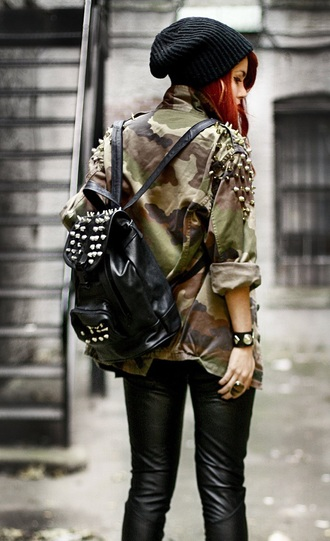 shirt camouflage camo shirt studded jacket studded shirt studs gold nudes neutral army green jacket green brown