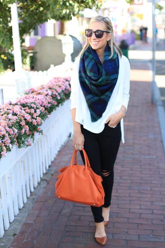 lemon stripes blogger tartan scarf orange bag