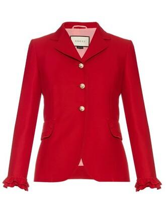 jacket ruffle silk wool red