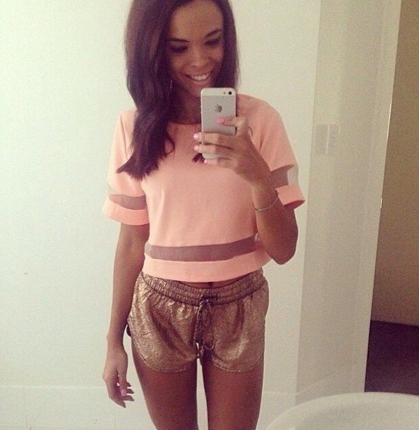 shirt sparkle pink light pink mesh stripes pink shirt mesh shirt crop tops style shorts