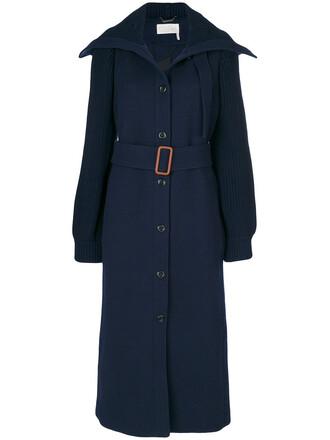coat women classic spandex blue wool