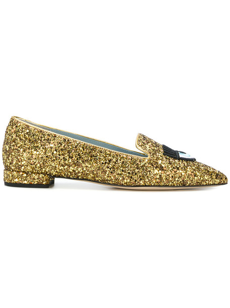 Chiara Ferragni women loafers leather grey metallic shoes