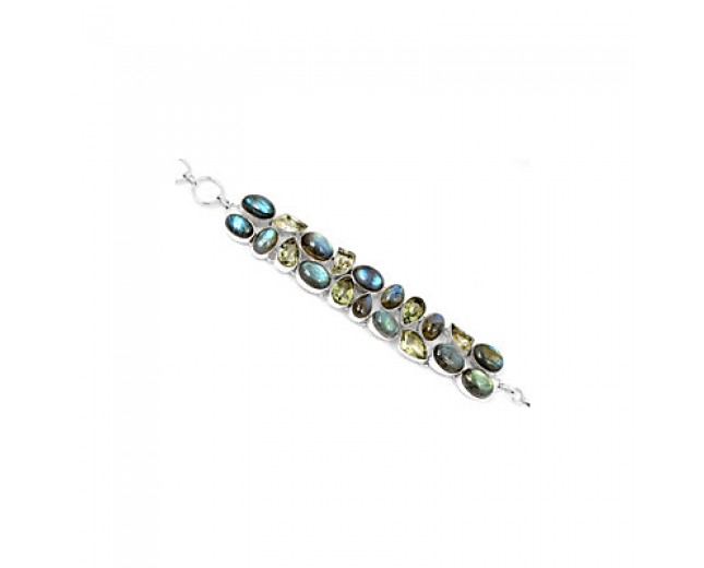 Genuine 925 sterling silver Labradorite And Green Amethyst Gemstone Cluster Bracelet