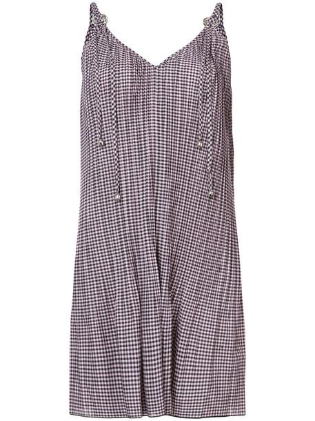 Adam Selman dress women cotton purple pink checkered