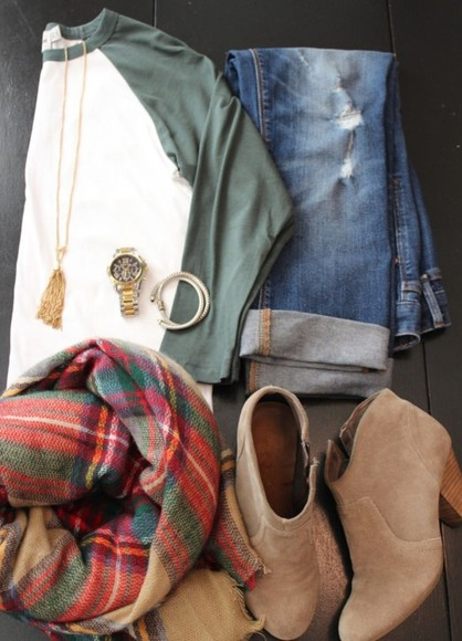 shoes baseball tee scarf watch