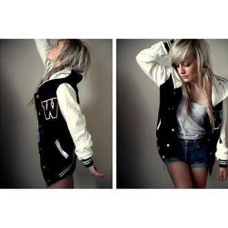 jacket varsity varsity jacket women women's varsity jacket black white fashion coat sweater nike adidas sporty athletic cute girly tomboy black varsity jacket bandw b&w style
