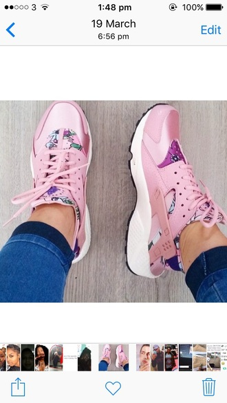 shoes pink trainers sneakers nike adidas floral hurraches