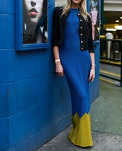dress,blue and yellow,maxi dress,clothes,blue,yellow,colorblock