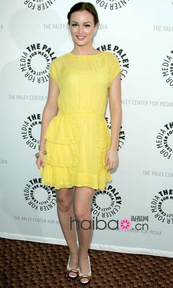 Leighton Meester Blair Sweet Yellow High Neck Short Sleeve Mini Chiffon Celebrity Dress/Prom Dress-in Celebrity-Inspired Dresses from Apparel & Accessories on Aliexpress.com