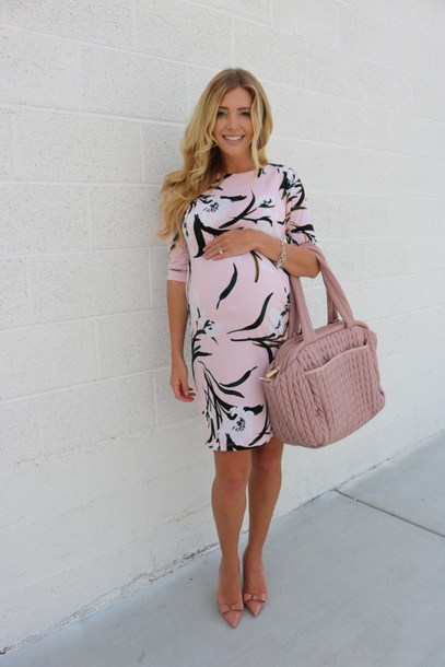 birdalamode blogger dress shoes bag maternity dress maternity spring dress spring outfits handbag pink bag pumps