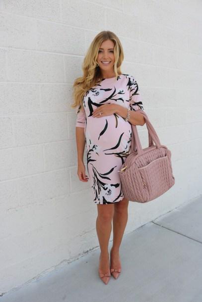birdalamode blogger dress shoes bag maternity dress maternity spring dress spring outfits handbag pink bag pumps
