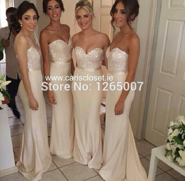 Aliexpress.com : Buy 2014 Querida Sparkly lantejoulas Top com cinto nude uma linha longa de moda vestido da dama de honra Vestidos from Reliable bluetooth topo suppliers on SFBridal
