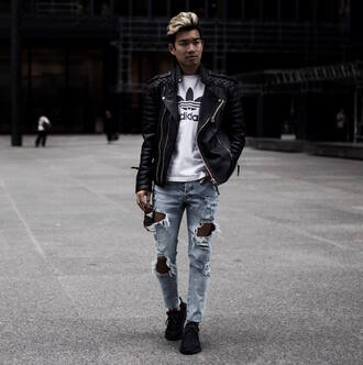 alexander liang blogger jeans shoes sunglasses menswear mens t-shirt adidas mens jacket leather jacket mens jeans black sneakers