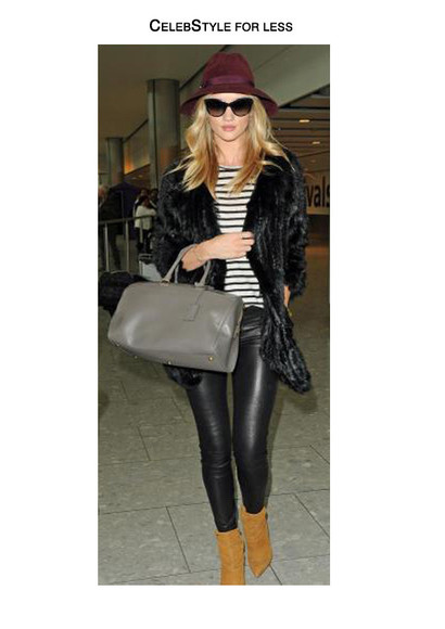 cat eye sunglasses top bag jacket celebstyle for less rosie huntington-whiteley faux fur jacket burgundy fedora stripes striped sweater leather bag leather pants brown leather boots