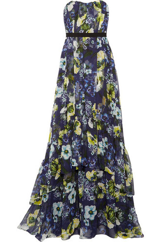 gown floral navy print silk dress
