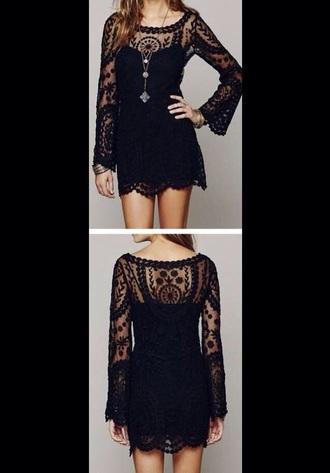dress black dress boho dress short black dress summer dress crochet dress