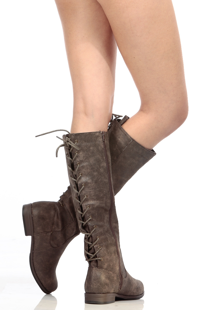brown faux suede knee high distressed boots cicihot