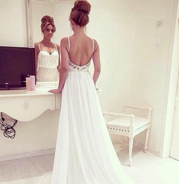 dress white dress long prom dress beautiful open back prom dress