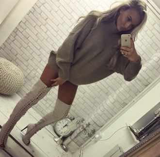 sweater sweater dress nude khaki taupe fall outfits lace up lace up boots lace up heels