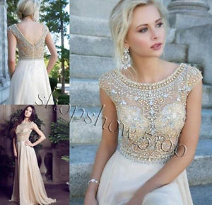2014 luxury beaded custom evening pageant gowns long chiffon formal prom dresses