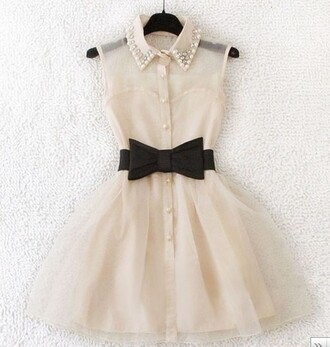 dress collared dress pearl sleeveless dress white dress belt clothes black belt leather black belt lace bow cream perles noeud cream dress cute bow belt beaded collar pinky white prom fashion