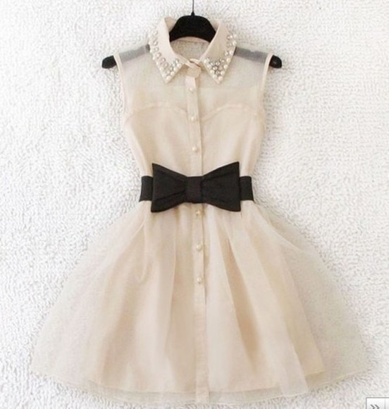 noeud dress perles collared dress pearls sleeveless dress white dress belt clothes black belt leather black belt bow lace cream cream dress cute bow belt beaded collar pinky white