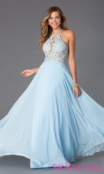 dress, lace dress, prom dress, light blue, halter dress, halter top ...